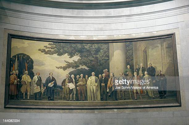 Painting of founding fathers inside the National Archives Washington DC