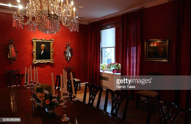A painting of George Washington by Gilbert Stuart circa 1795 hangs in the dinning room of the official residence of the United State Ambassador to...