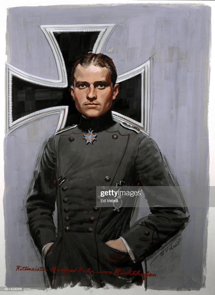A painting of German flying ace Manfred von Richthofen AKA The Red Baron circa 1917.