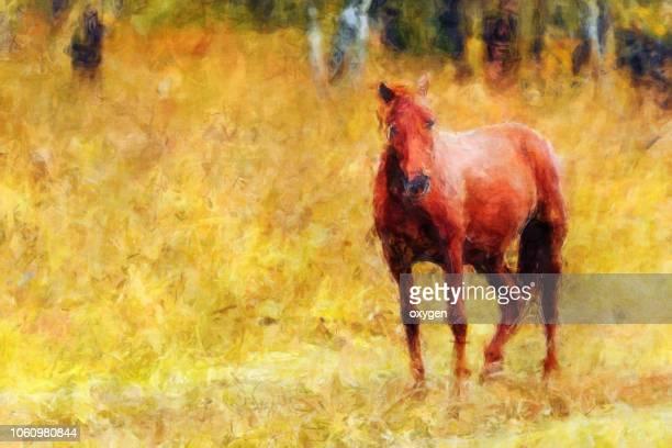painting of horse graze near the mountain in the pasture in the autumn - ölgemälde stock-fotos und bilder