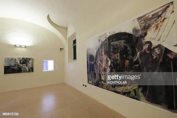 PIEMONTE SALUZZO CUNEO ITALY A painting of Iranian artist Sahar Salehi during the opening of exhibition Diario Persiano at Castiglia tower in Saluzzo...