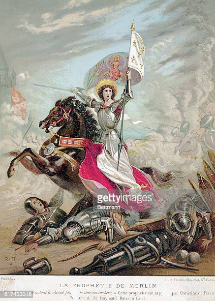 Painting of Joan of Arc leading her troops in battle She is on horseback with both sword and flag in hand Dead knights lay in her wake Undated...