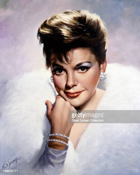 Painting of Judy Garland US singer and actress wearing a white fur coat resting her chin on her right hand circa 1960