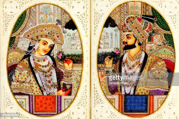 Painting of king and queen holding flower in hands, India