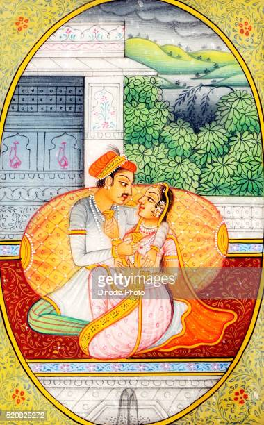 Painting of king and queen in romantic mood, India