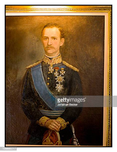 A painting of King George I of Greece from Princess MarieChantal's home 'Beale House' is photographed for Vanity Fair Spain on May 23 2009 in West...