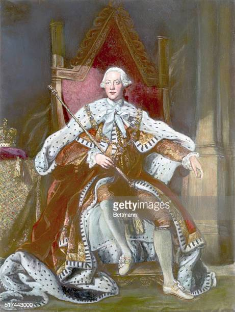 Painting of King George III of England seated on the throne in full regalia Undated illustration