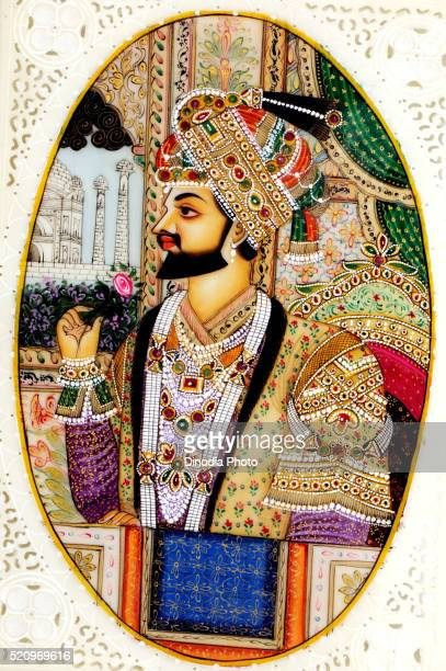 Painting of king holding flower in hand, India