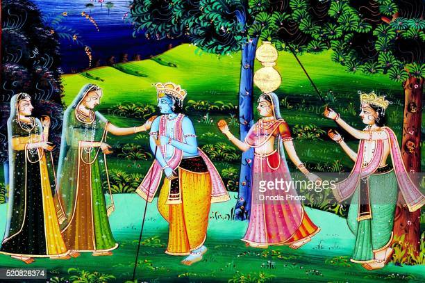 Painting of lord krishna and sudama playing with women, India