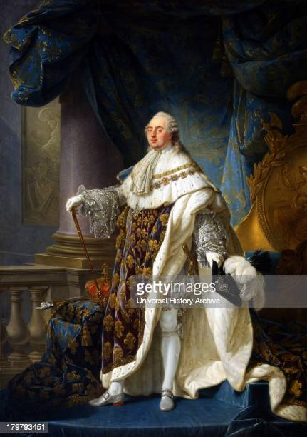Painting of Louis XVI King of France and Navarre Wearing his grand royal costume in 1779. Oil on canvas. By Antoine-François Callet. Displayed in the...