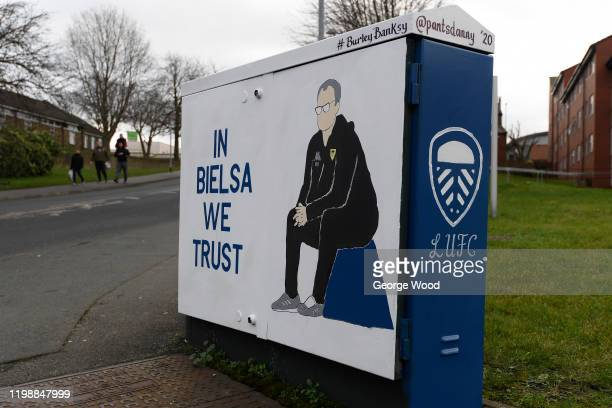 Painting of Marcelo Bielsa, manager of Leeds United on an electric box ahead of the Sky Bet Championship match between Leeds United and Sheffield...