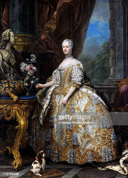 Painting of Marie Leszczinska Queen of France By CharlesAndré van Loo 1747 Oil on canvas On display at the palace of Versailles