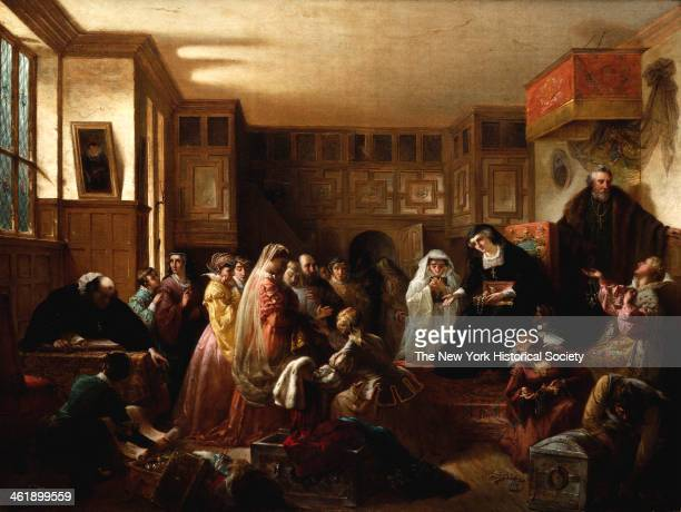 Painting of Mary Queen of Scots dividing her Jewels property among her friends and attendents taking leave of her attendents the day before her...