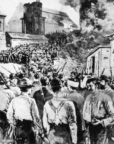 A Painting of Men Rioting During the Ludlow Massacre circa April 1914