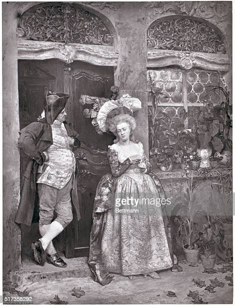 Painting of middleage women in Victorian era dress standing against the wall of a house She is wearing a hat and hoop dress with a low neckline A man...