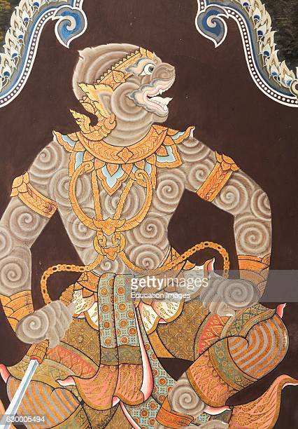 Painting of monkey deity Hanuman at Wat Phra Kaew Temple of Emerald Buddha Bangkok Grand Palace Thailand