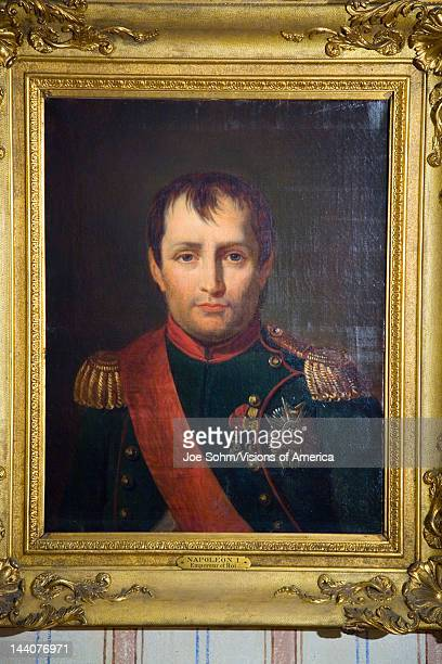 Painting of Napoleon at Napoleon Bonaparte's birthplace on the Mediterranean Sea Corsica France Europe