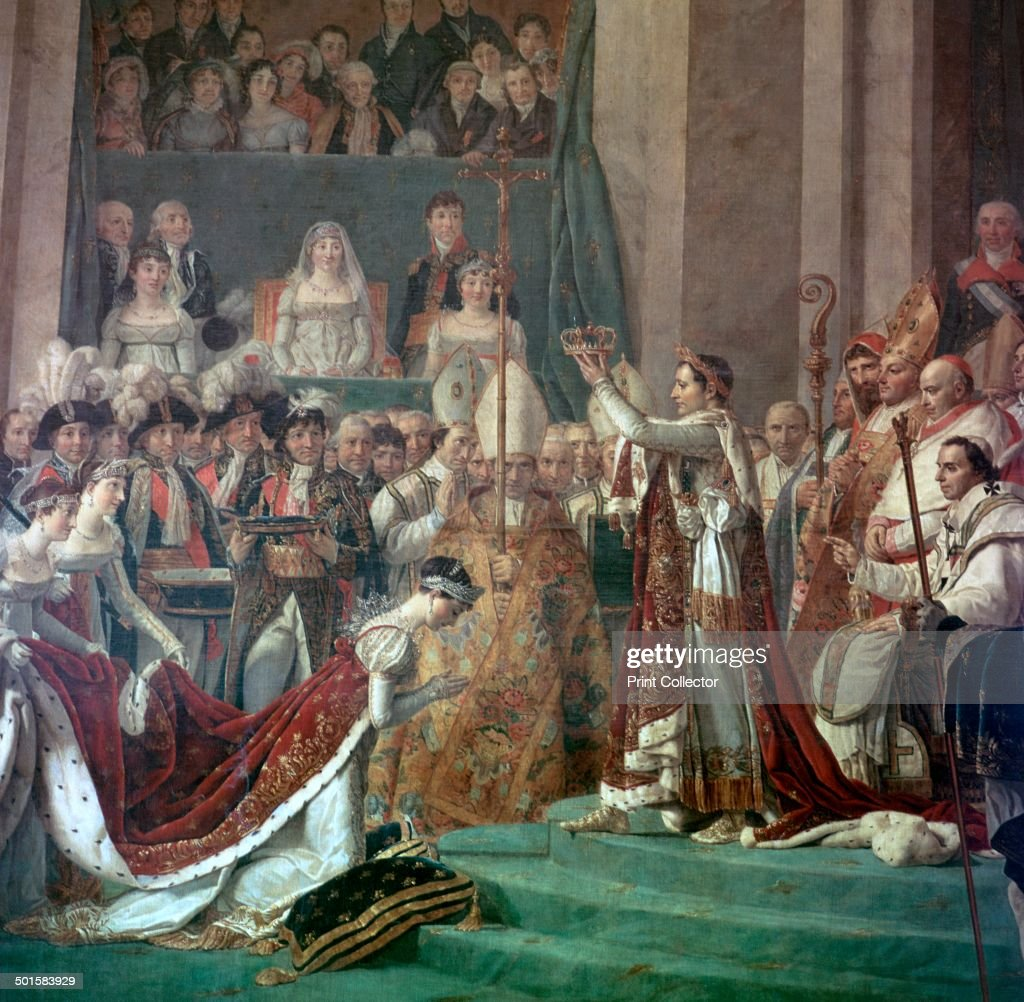 Painting of Napoleon Buonaparte and Empress Josephine, 18th century. Artist: Jacques-Louis David : News Photo