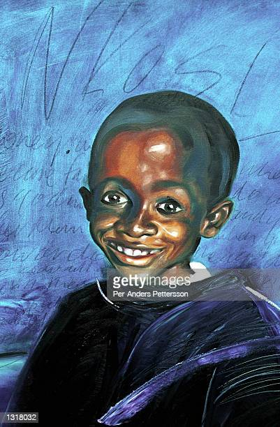 A painting of Nkosi Johnson donated for his 12th birthday February 4 2001 at his home in Melville a suburb of Johannesburg South Africa Nkosi who was...