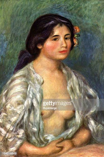 Painting of Nubile young girl sensuously has her blouse open to reveal her bosom 1875