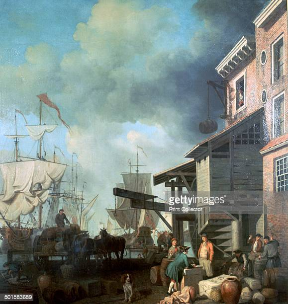 Painting of Old Custom House Quay now in the Victoria and Albert Museum 18th century