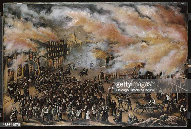 Painting of people trying to escape burning buildings during the Great Chicago Fire Chicago Illinois 1912