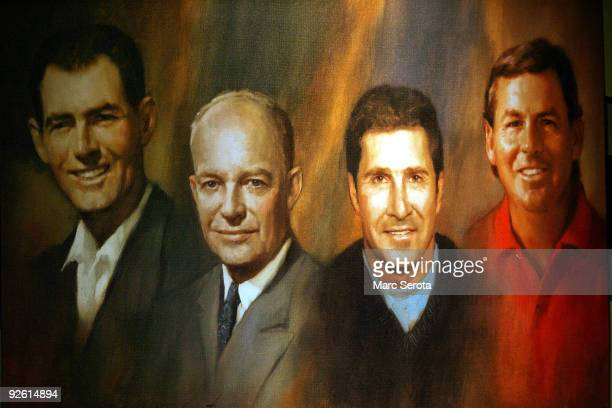A painting of PGA Hall of Fame inductees Chris O'Connor President Dwight D Eisenhower Jose Maria Olazabal and Lanny Wadkins hangs at a press...