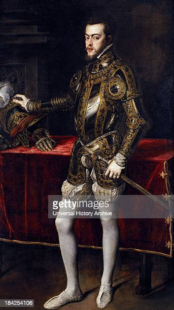 Painting of Philip II of Spain Born 21 May 1527 and died 13 September 1598 King of Spain and Portugal In Portugal and Aragon he was known as Felipe I...
