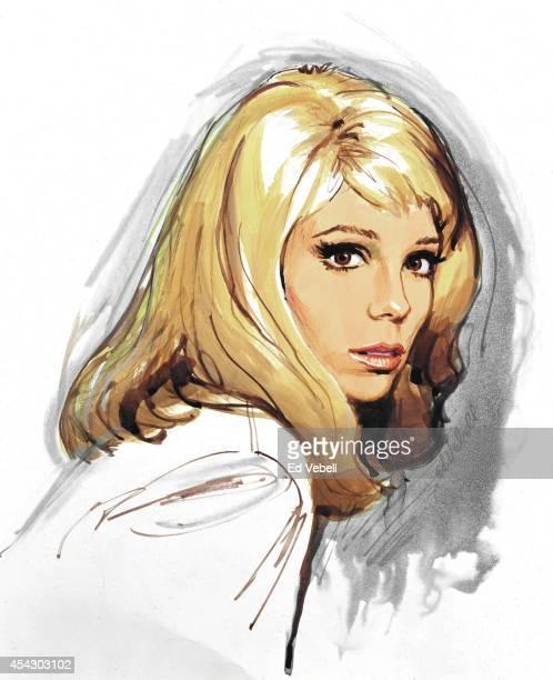 A painting of pop singer Nancy Sinatra circa 1967