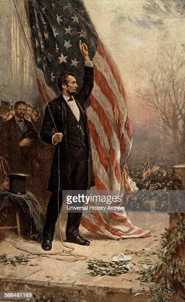 Painting of President Abraham Lincoln standing in front of the American flag Dated 1908