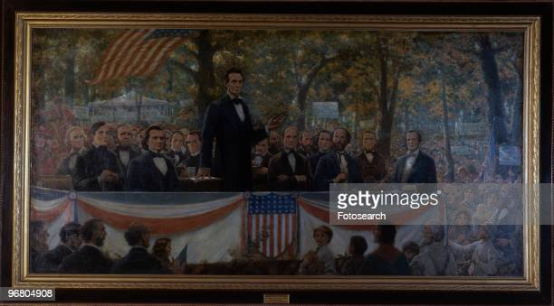 Painting of President Abraham Lincoln's debate with Stephen Douglas September 18 1856