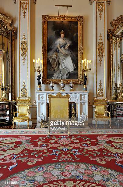 A painting of Queen Alexandra wife of Edward VII by Francois Flameng in the White Drawing Room which will be used during the wedding reception of...
