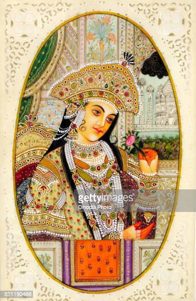 Painting of queen holding flower in hand, India