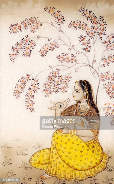 Painting of queen with deer, India