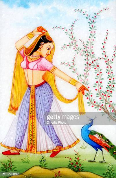 Painting of queen with peacock, India