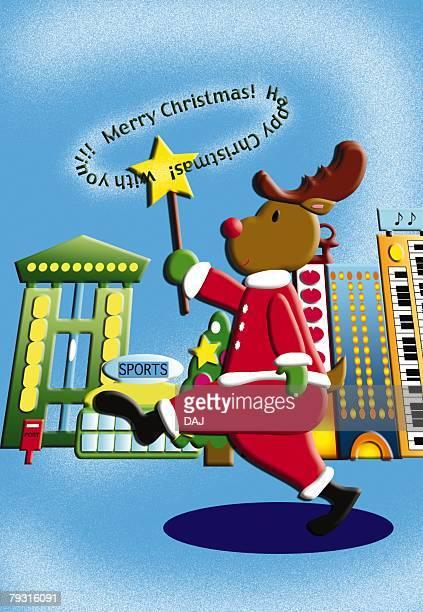Painting of reindeer walking down the street wearing Santa Claus costume, Illustration