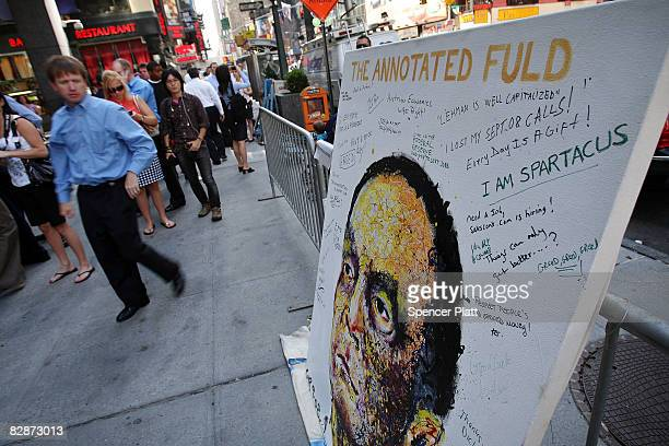 A painting of Richard Fuld Chairman and Chief Executive Officer of Lehman Brothers Holdings Inc created by New York artist Geoffrey Raymond sits on...