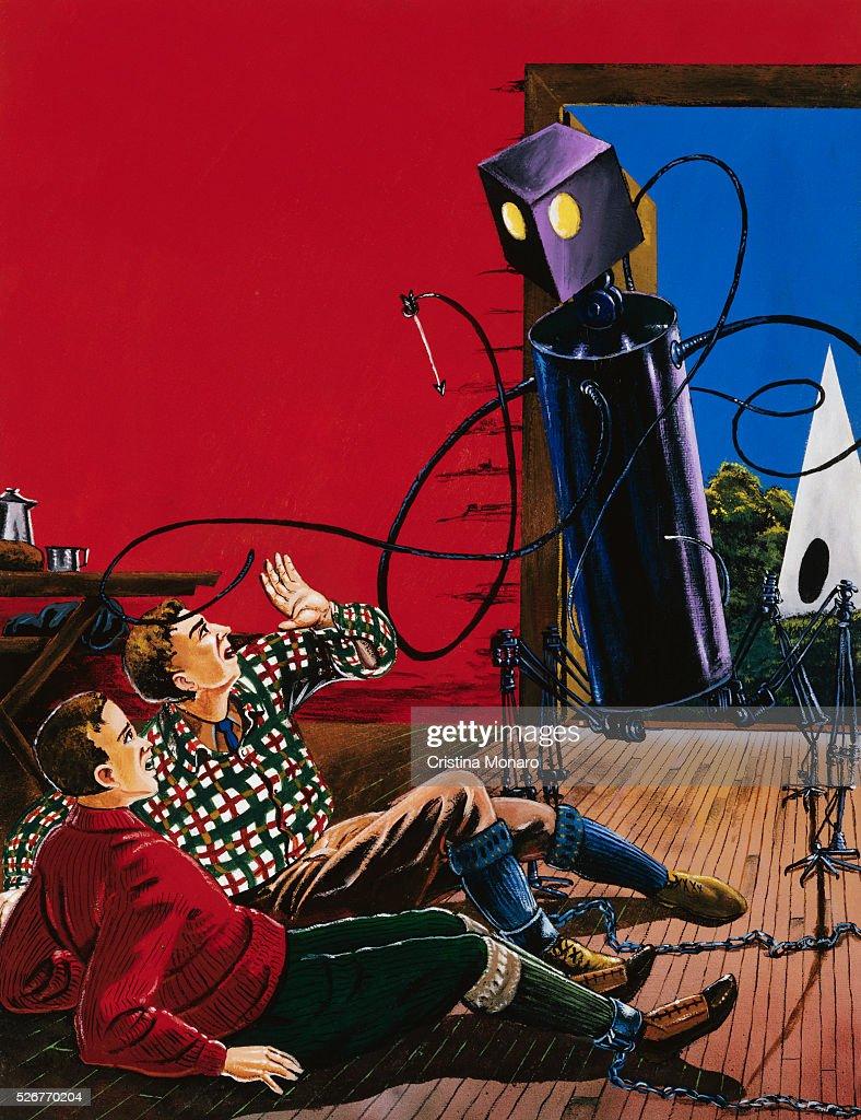 Painting of Robotic Alien Attack by Anton Brzezinski : News Photo