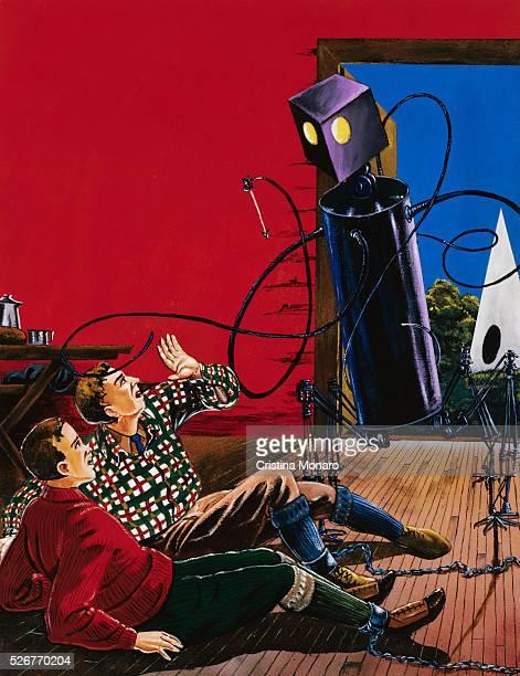 Painting of Robotic Alien Attack by Anton Brzezinski