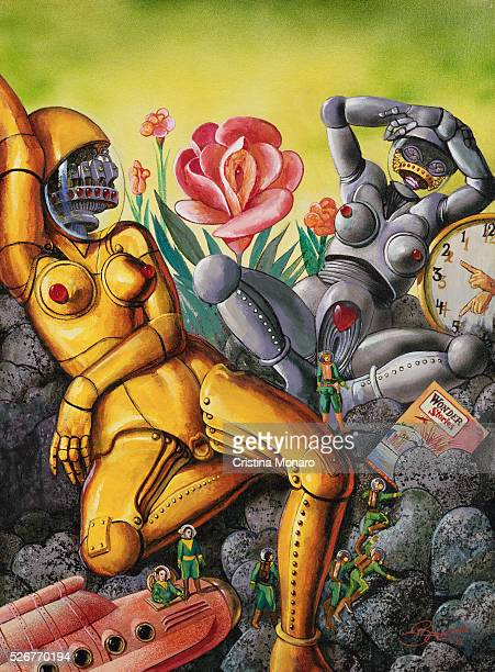 Painting of Robots and Spacemen by Anton Brzezinski