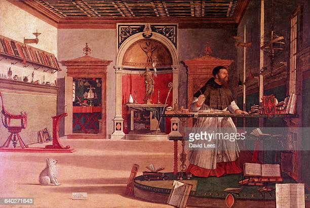 Painting of Saint Jerome also known as Eusebius Hieronymous Sophronius in his study by Vittore Carpaccio an Italian painter of the Venetian school...