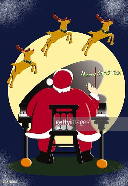 Painting of Santa Claus playing piano and reindeers flying, Illustration