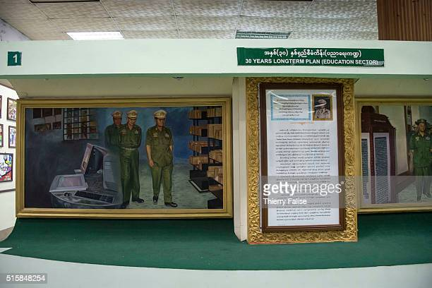 A painting of Senior General Than Shwe who headed Myanmar's military regime from 1992 to 2011 and General Maung Aye regime's number 2 stands on of...