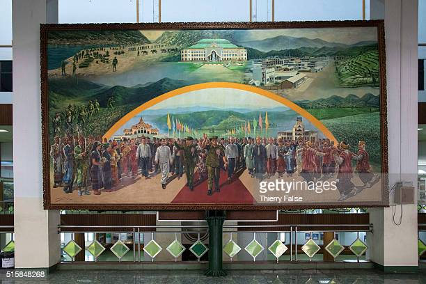 A painting of Senior General Than Shwe who headed Myanmar's military regime from 1992 to 2011 and General Maung Aye regime's number 2 stands at the...
