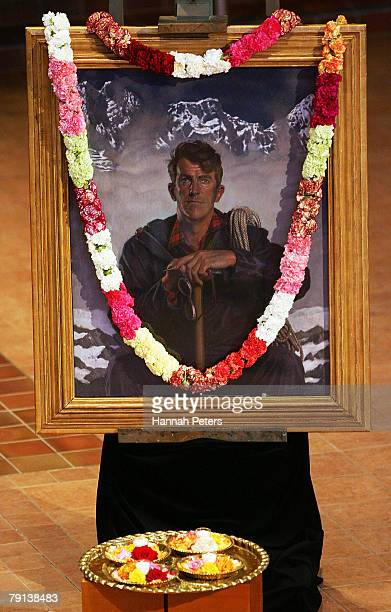 A painting of Sir Edmund Hillary stands in the Holy Trinity Cathedral next to his casket on January 21 2008 in Auckland New Zealand Sir Edmund...