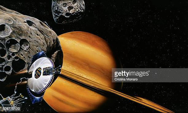 Painting of Spacecraft with Asteroids and Saturn in Background