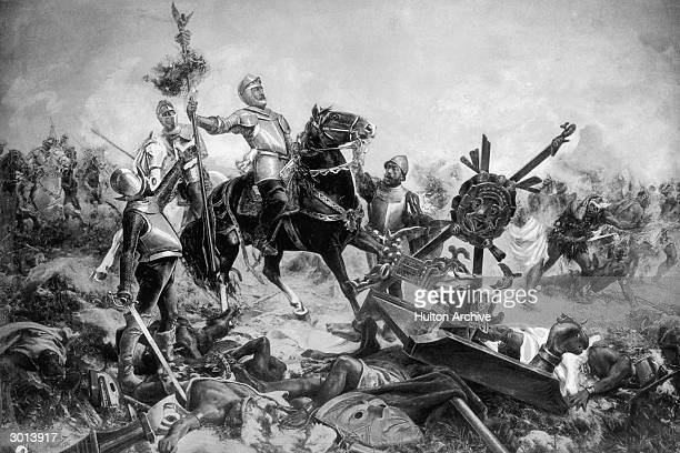 Painting of Spanish conquistador and conqueror of Mexico Hernando Cortes leading his army in battle against the Aztecs circa 1520