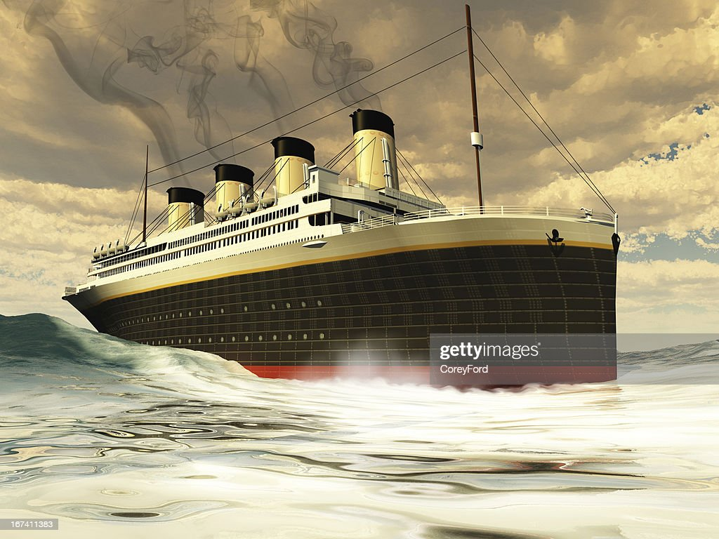 Painting of steamer ship in ocean waters : Stock Photo