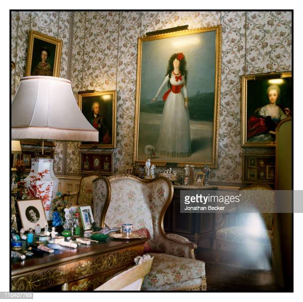 Painting of the 13th Duchess of Alba by Goya is photographed in the Goya room of the Palacio de Duenas for Vogue Espana on March 15-17, 2010 in...