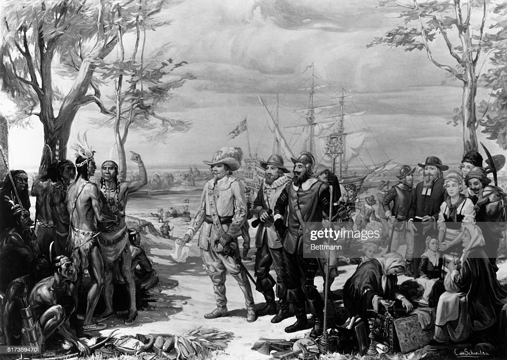 Painting of Native Americans Greeting Swedish Settlers by Christian Von Schneidau : News Photo